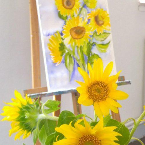 Aquarell-Sonnenblumen
